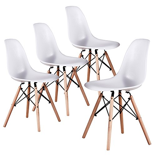 Mid Century Modern Eames Style White armless ABS Plastic Chair Side Chair with Beech Wood Leg for Kitchen, Office,Dining, Coffee Shop,Living Room to Easy Assemble and Clean(4 pcs)