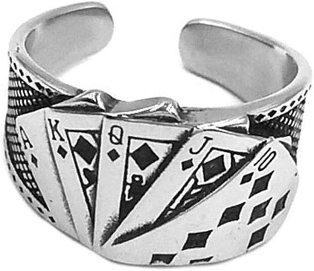 Royal Straight Flush JEWURA Biker Ring Fashion Stainless Steel Jewelry