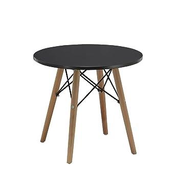 Beistelltisch Couchtisch Schwarz Rund Holz Tisch Retro Design
