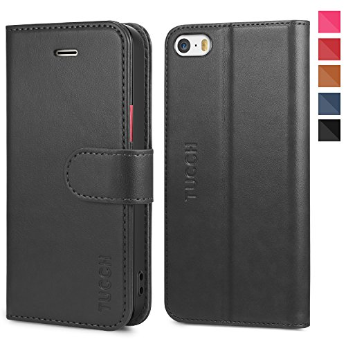 iPhone SE Case, iPhone 5S Case, TUCCH Wallet Cases Flip Leather Case Slim Folio Book Cover with Card Slots, Magnetic Closure Compatible with iPhone SE / 5s / 5,Black/Red
