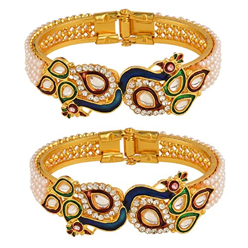 (Efulgenz Fashion Jewelry Indian Bollywood 14 K Gold Plated Faux Pearl Kundan Rhinestone Peacock Bracelet Bangle (2 Pc))