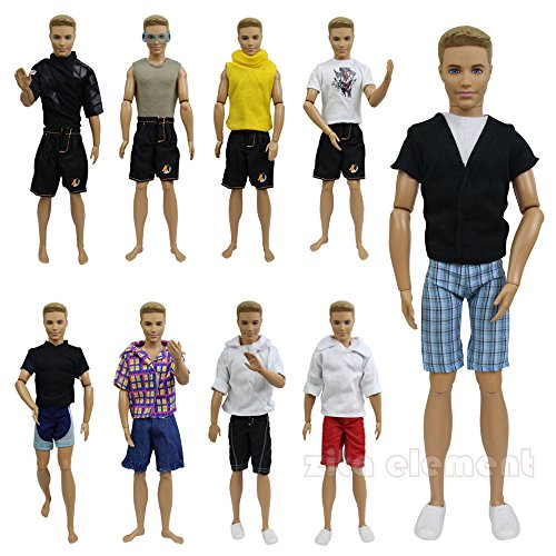ZITA ELEMENT LOT 5 pcs Fashion SUMMER Beach Casual Wear Clothes /outfit for Barbie's BoyFriend Ken Doll + 1 SunGlass (Beach Barbie Costume)