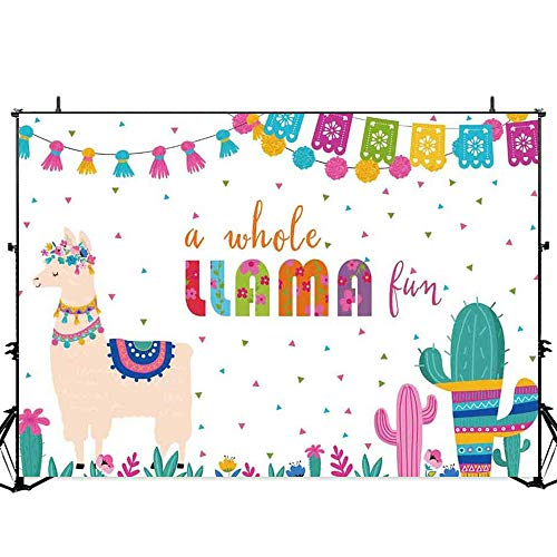 Allenjoy Llama Fiesta Backdrop A Whole Llama Fun Cactus Summer Mexican Kids Birthday Party Cake Table Decoration Banner 7X5ft Baby Shower Photo Booth Background Photoshoot Studio Props ()