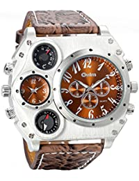 Mens Military Quartz Wrist Watch Brown PU Leather Strap Big Face Two Time Zone Analog Display Compass Thermometer Decorative Dial Sport Watch