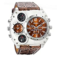 Avaner Mens Military Quartz Wrist Watch Brown PU Leather Strap Big Face Two Time Zone Analog Display Compass Thermometer Decorative Dial Sport Watch