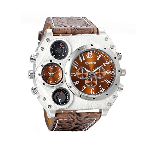 Avaner Mens Military Quartz Wrist Watch PU Leather Strap Big Face Two Time Zone Analog Display Compass Thermometer Decorative Dial Sport Watch 3