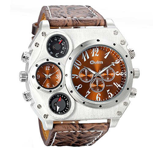 (Avaner Mens Military Quartz Wrist Watch Brown PU Leather Strap Big Face Two Time Zone Analog Display Compass Thermometer Decorative Dial Sport)