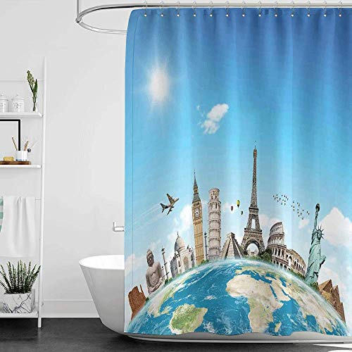 Shower Curtains Grey and Teal Travel,Famous Monuments of Pisa Taj Mahal Giza Pyramids Paris Landmarks Theme,Pale Blue Ivory White W48 x L72,Shower Curtain for Bathroom