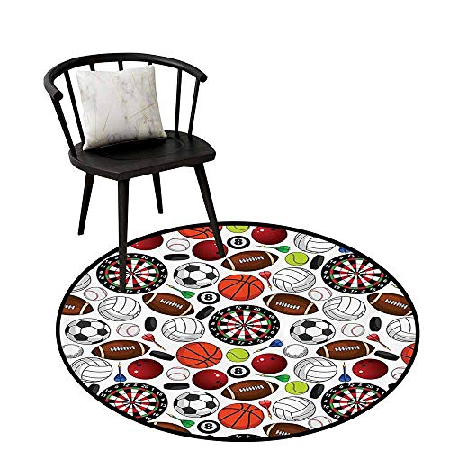 Modern Round Rug Sports Decor Collection for Bedroom Pattern with Billiards Balls Hockey Pucks Darts Arrows and Target Boards Image Orange White Burgundy - Collection Bra Balcony