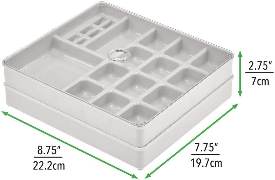 stapelbare Schmuckaufbewahrung mit Deckel hellgrau//durchsichtig 2 Aufbewahrungsboxen mit vielen F/ächern f/ür Armb/änder Ketten und anderen Schmuck mDesign Schmuckkasten im 3-teiligen Set