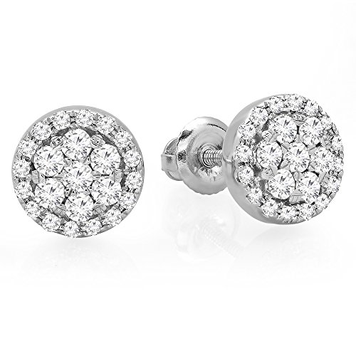 0.40 Carat (ctw) 14K White Gold Real Round Cut White Diamond Ladies Cluster Flower Stud Earrings