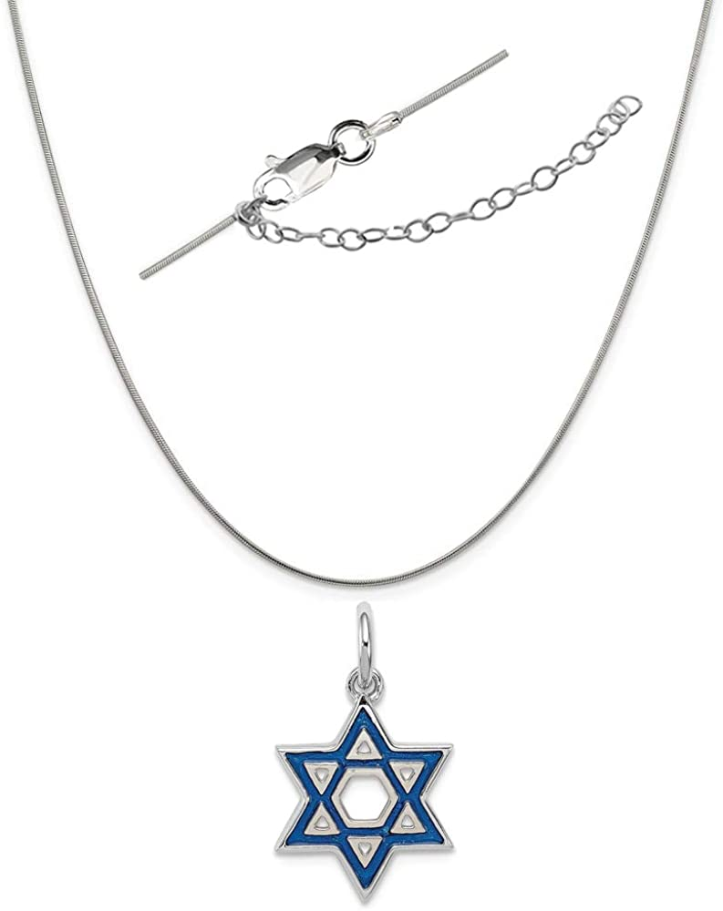 Sterling Silver Anti-Tarnish Treated Blue Enamel Shoe Charm on an Adjustable Chain Necklace