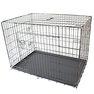 "42"" XL Extra Large Pet Dog Crate Metal Folding Cage Portable Kennel House Training Puppy Kitten Cat Rabbit"
