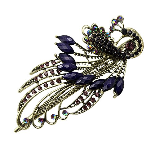 Newstarfactory Purple Vintage Rhinestone Peacock Design Alligator Hair Clip with Exclusive Gift