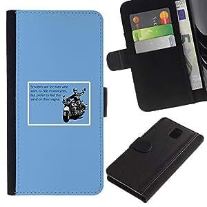 KingStore / Leather Etui en cuir / Samsung Galaxy Note 3 III / Motos Versus Scoote Cita divertida Hombres
