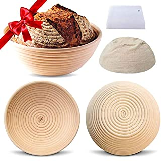 9 Inch Natural Rattan Banneton Proofing Basket For Sourdough,Bread Banneton,Sour Dough Bread Starter Baking Dough Baskets,Brotform Proofing Bowl With Cloth Liner Cover Scraper Proving Proofer Basket