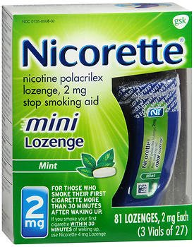 Nicorette Stop Smoking Aid Mini Lozenges 2 mg Mint - 81 ct, Pack of 3