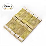 Vivian Rhinestone Mesh Bling Napkin Rings for Wedding Decoration, Plastic Chair Sash Bows, 5 x 1.6inch Napkin Holder for DIY Party Birthday Banquet Supply (100, Gold)