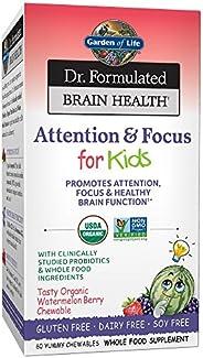 Garden of Life Dr. Formulated Brain Health Attention & Focus for Kids - Watermelon Berry Flavor 60 Chewabl