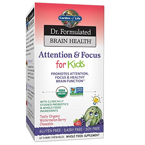 Garden of Life Dr. Formulated Brain Health Attention & Focus for Kids - Watermelon Berry Flavor 60 Chewable Tablets
