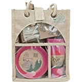 EcoSoulife EBW11009P 14 Piece Picnic Set-with Jute Carry/Storage Bag-Dinner Plates, Bowls, Cups & 24 Pcs Cutlery Set Pink