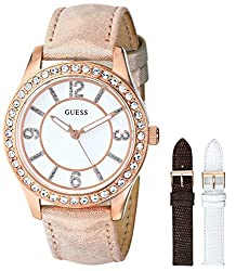 GUESS Women's U0351L3 Classic Watch Boxed Set with Three Interchangeable Genuine Leather Straps in White, Brown & Beige