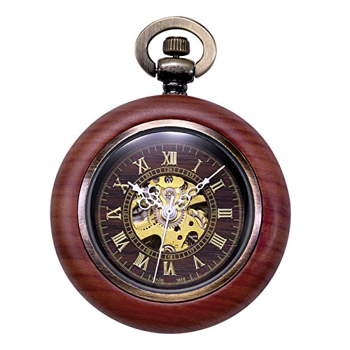 TREEWETO Vintage Wood Automatic Mechanical Pocket Watch for Men Women Steampunk Skeleton Dial with Chain + Gift Box by TREEWETO (Image #1)