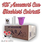 Aura caffè 600 Bicchieri in Carta per caffè, Biodegradabili + 600 Palette in bambù Bio + 600 Bustine di Zucchero