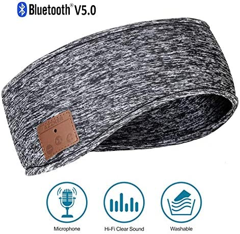 Azzker Bluetooth 5.0 Sleep Headphones Ear Warmers Headband Ear Muffs Ear Covers with Detachable HD Stereo Speakers and Mic Ideal for Sports,Sleeping,Yoga,Calls,Travel,Hiking Daily Wear Gray