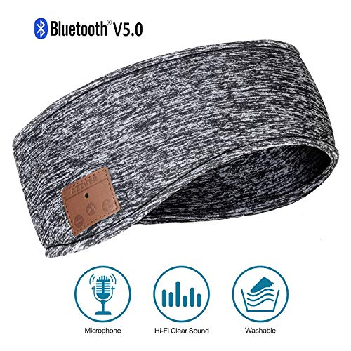 Azzker Bluetooth 5.0 Sleep Headphones & Ear Warmers Headband & Ear Muffs Ear Covers with Detachable HD Stereo Speakers and Mic Ideal for Sports,Sleeping,Yoga,Calls,Travel,Hiking & Daily Wear(Gray) (Sleep Noise Earmuffs For Blocking)