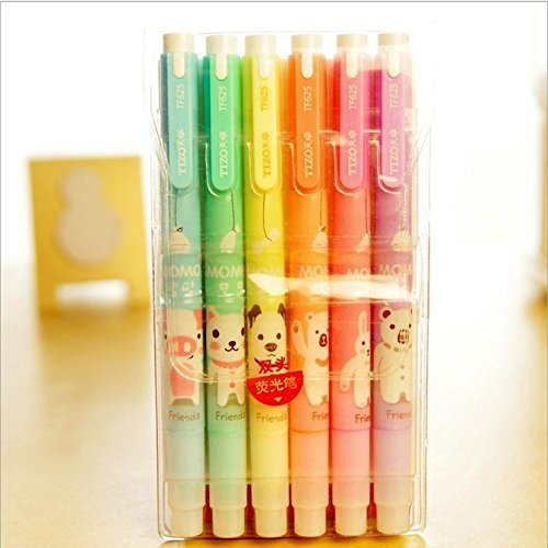 Set-of-6-Cute-Kawaii-Novelty-Cartoon-Colored-Assorted-Animals-Double-Tips-Highlighters-Pens-Fluorescent-Ink-Markers-6-Different-Colors-Set-For-Books