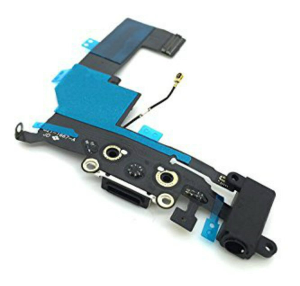 DonkeyEmma Brand New Charging Port Headphone Jack Flex Cable Replacement for iPhone 5s (Black)