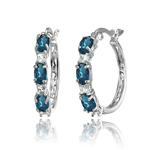 (Sterling Silver Oval London Blue Topaz & Princess-cut White Topaz Filigree Hoop Earrings )
