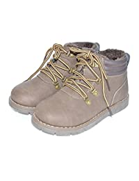 Bumud Boy's Girl's Combat Lace-Up Side Zipper Ankle Boots Winter Warm Shoe