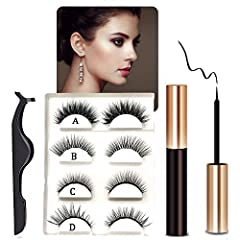 Latest Magnetic Eyelashes and Eyeliner Kit Contain : 1×Magnetic Liquid Eyeliner 1×New Curvature Tweezers 4×pairsMagnetic Eyelashes (different styles)  Natural Look Easy to Apply, no glue Comfortable & Convenient Strong Long Hold ...