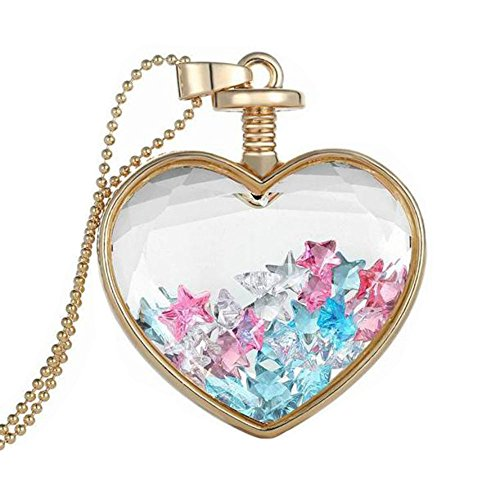 Women Dry Flower Heart Glass Wishing Bottle Pendant Necklace by TOPUNDER (Pink Jade Pendant Jewelry)