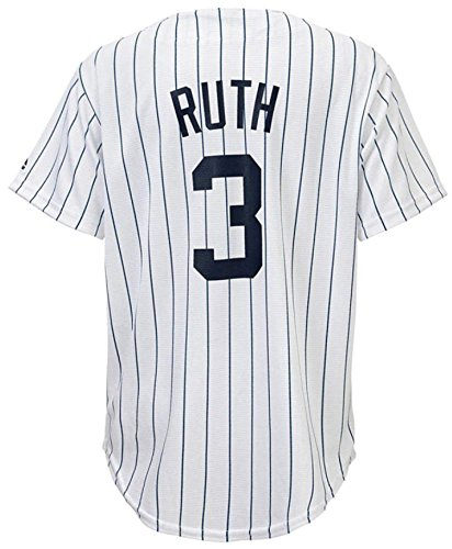 OuterStuff Babe Ruth New York Yankees White Youth Cool Base Home Replica Jersey (Medium 10/12)