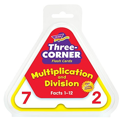 Skill Drill 48-Piece 14 cm Paper Three Corner Flash Cards Multiplication and Division, White by Skill Drill