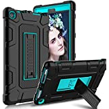 Innens Amazon Fire HD 8 2017 Case, Heavy duty Armor Defender Anti-Scratch Shockproof Rugged Stand Case Cover for Fire HD 8 7th Generation (Blue/Black)