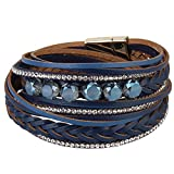Kelake Genuine Leather Braided Bracelet - Crystal Rope Wrap Cuff Bangle for Women - Rhinestone Braided Bracelet Wristband for Girls