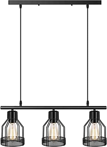Black Pendant Lighting 3-Light Kitchen Island Light Fixtures Rustic Cage Industrial Chandelier for Bar Dinning Room