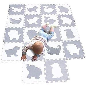 MQIAOHAM tapis mousse bebe dalles puzzle dalle bébé jeu enfant de sol baby playmat en play mat epais coussin pour jeux gris blanc P051BH 2