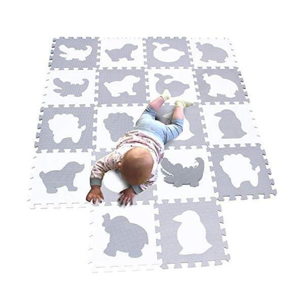 MQIAOHAM tapis mousse bebe dalles puzzle dalle bébé jeu enfant de sol baby playmat en play mat epais coussin pour jeux gris blanc P051BH 1
