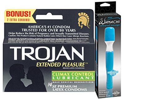 Gift Set of Trojan Extended Pleasure (12) And Wittle Wanachi (Blue) by Paradise Marketing Services