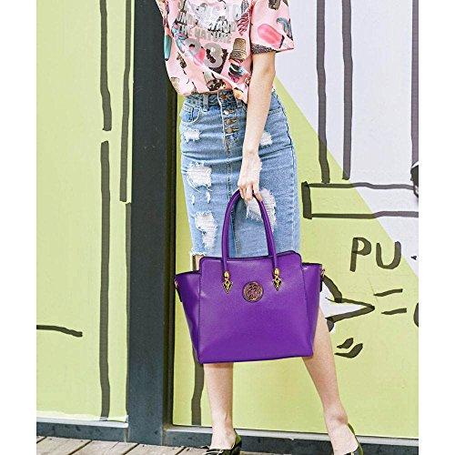 Funda de piel sintética nuevo bolso de mano para mujer moda bolso de hombro bolsas mujer grande, color morado, talla L A - Purple