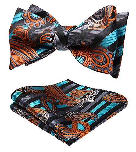 HISDERN Men's Paisley Floral Jacquard Woven Party Self Bow Tie Set Aqua/Orange