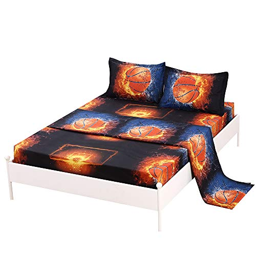 SDIII 3PC Basketball Sheet Sets Twin Size Sport Bedding Sheet Sets with Flat Fitted Sheet for Boys, Girls and Teens (Basketball Pillowcase)