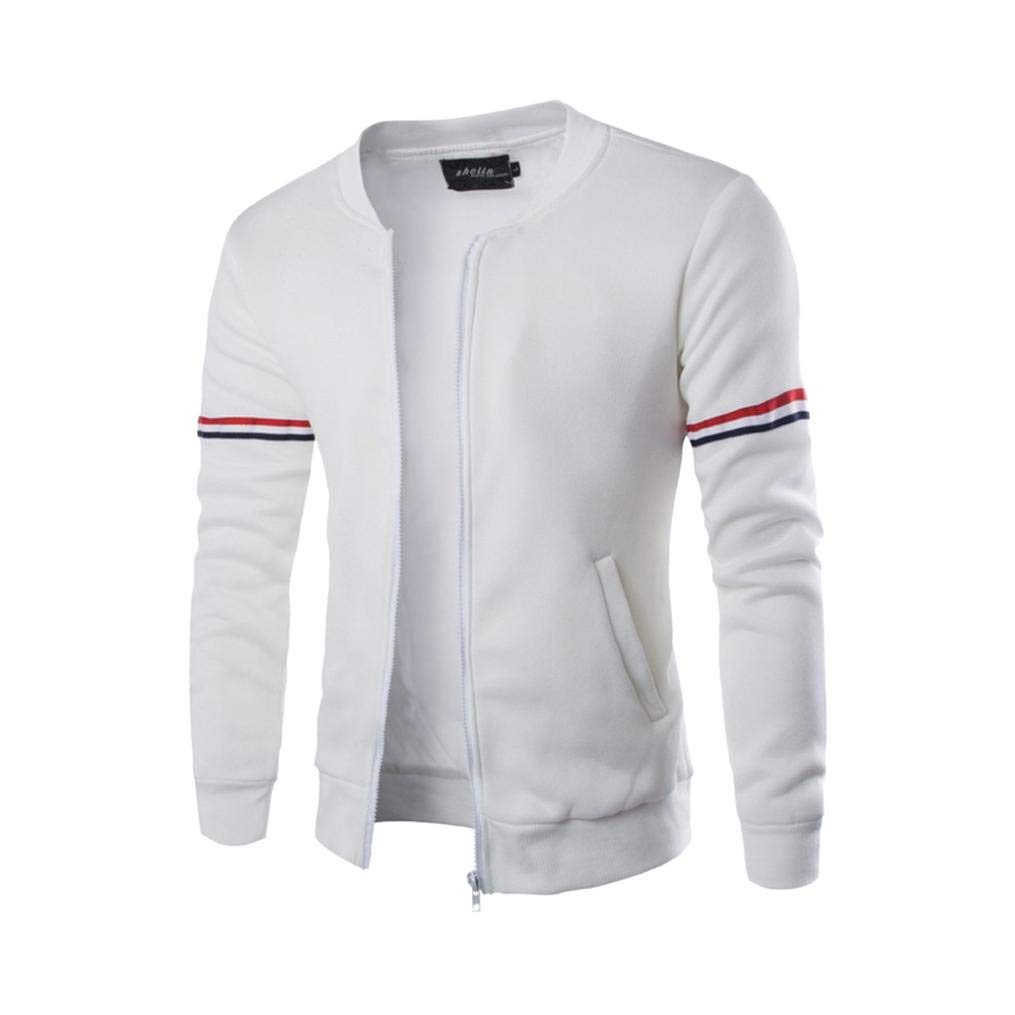 REYO Men's Jackets Casual Sale, Autumn Winter Decorative Ribbon Leisure Jacket Collar Hooded Sweatshirt weatshirt Tops