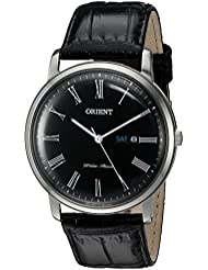 Orient Mens Capital Version 2 Quartz Stainless Steel and Leather Dress Watch, Color:Black (Model: FUG1R008B9)