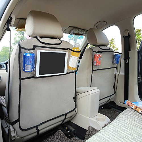 Feiteplus Environmental PVC Car Back Seat Protector Kicking Mat with Organizer Pocket for Ipad Drink (Pack of ()